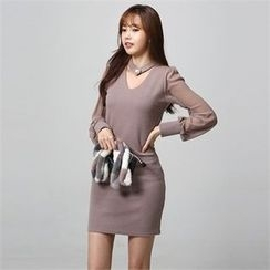 JVLLY - Choker-Neck Chiffon-Sleeve Sheath Dress