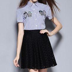 妮佳 - 套装: 条纹短袖衬衫 + A字蕾丝裙