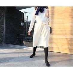 MARSHMALLOW - Mock Two-Piece Midi Dress with Sash