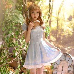 糖果雨 - 荷葉邊蝴蝶結短袖連衣裙