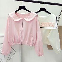 DIYI - Cropped Zip Jacket