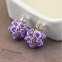 HEDGY - Floral Rhinestone Through & Through Earrings