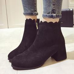 Crystella - Block Heel  Short Boots