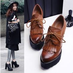 JY Shoes - Fringed Brogue Genuine Leather Pumps