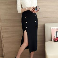 Bubbleknot - Slit Knit Midi Skirt