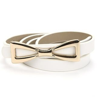 O.SA - Genuine Leather Bow-Accent Slim Belt