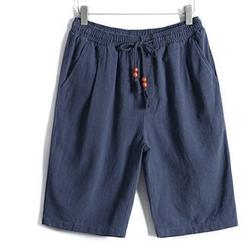 WOOD SOON - 麻布抽绳短裤