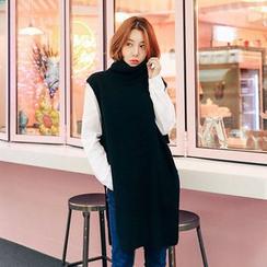 Seoul Fashion - Turtle-Neck Sleeveless Long Knit Top