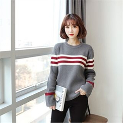 Styleberry - Round-Neck Contrast-Trim Sweater