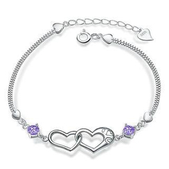 BELEC - White Gold Plated 925 Sterling Silver with Purple Cublic Zirconia Heart-shaped Bracelet