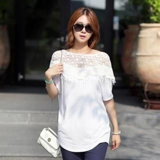 Jcstyle - Dolman-Sleeve Crochet-Trim Top