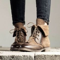 MIAOLV - Tasseled Brogue Lace Up Boots