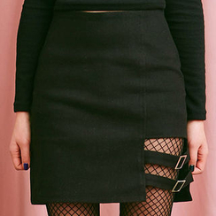 chuu - Buckled Cutout-Hem Mini Skirt