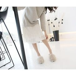 MARSHMALLOW - Lace-Hem Pointelle Knit Dress