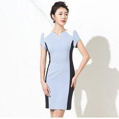 Aision - Short-Sleeve Sheath Panel Dress