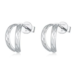 MaBelle - 14K/585 White Gold Diamond Cut Open J Hoop Stud Earrings