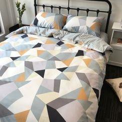 Miss Jane - Bedding Set: Geometric Print Duvet Cover + Bed Sheet + Pillowcases