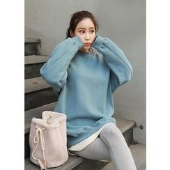 J-ANN - Mock-Neck Drop-Shoulder T-Shirt