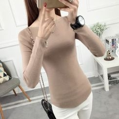 anzoveve - Boatneck Long-Sleeve Knit Top