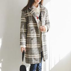 JUSTONE - Notched-Lapel Double-Breasted Plaid Coat