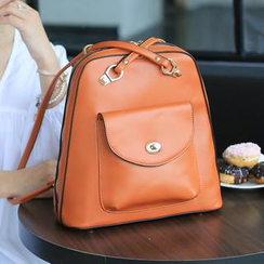 Youshine - Criss-Cross Shoulder Strap Faux Leather Backpack