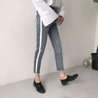 Tiny Times - Contrast Stripe Tapered Jeans