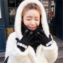 QNIGIRLS - Pompom Wool Blend Knit Gloves