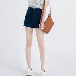 CatWorld - Bowed Denim Shorts