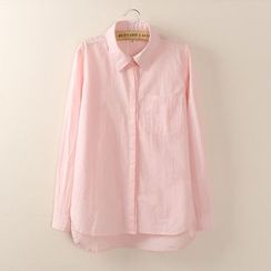 Tangi - Plain Long-Sleeve Blouse