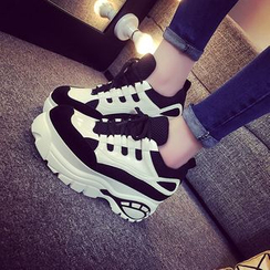 SouthBay Shoes - Two-Tone Platform Sneakers