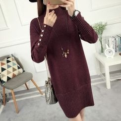 anzoveve - Plain Mock Neck Knit Dress