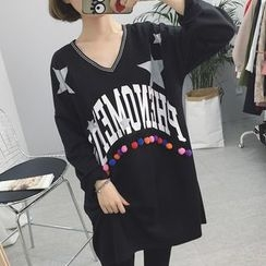 Rocho - Lettering Long-Sleeve T-Shirt Dress