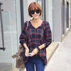 REDOPIN - V-Neck Plaid Long-Sleeve Top