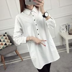 anzoveve - Plain Long Shirt