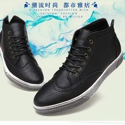 Preppy Boys - Genuine-Leather Wing-Tip Sneakers