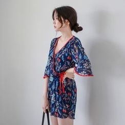 WITH IPUN - 3/4-Sleeve Wrap-Front Floral Jumpsuit