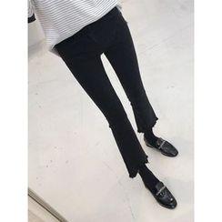 hellopeco - Fringed-Hem Boots-Cut Jeans