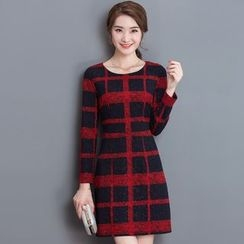 Purple Rose - Long-Sleeve Tweed Check Dress