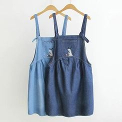 Musume - Embroidery Washed Denim Suspender Dress