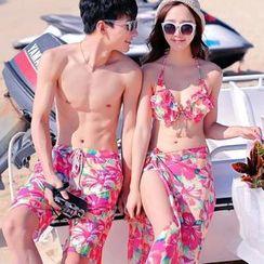 Little Dolphin - Couple Set: Floral Bikini + Scarf / Swim Shorts