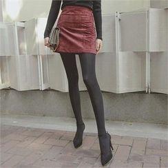 TOM & RABBIT - Faux-Suede A-Line Mini Skirt