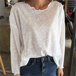 QNIGIRLS - Round-Neck Melange T-Shirt