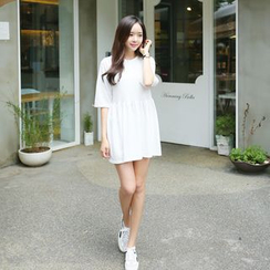 Envy Look - Henley-Neck A-Line Mini Dress