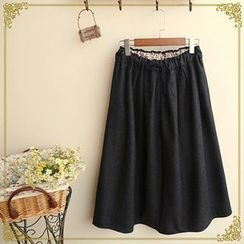 Fairyland - Drawstring Woolen Midi Skirt