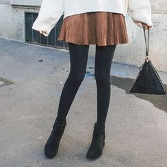 mimi&didi - Inset Shorts Pleated Faux-Suede Mini Skirt