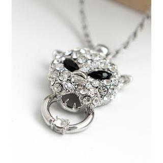 Petit et Belle - Leopard Face Rhinestone Pendant Necklace