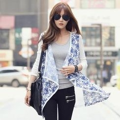 REDOPIN - Contrast Piping Floral Print Cardigan