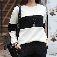 CHICFOX - Color-Block Fleece-Lined T-Shirt