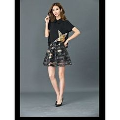 Dream Girl - Set: Sequined Star Short-Sleeve Collared Blouse + Star Print Organza A-Line Skirt