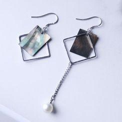 Pansy - 波浪珍珠几何不对称纯银耳环